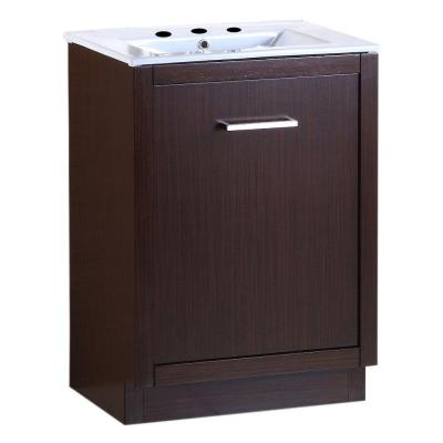 Cotati 24 in. W x 18 in. D x 33.5 in. H Single Vanity in Wenge with Ceramic Vanity Top in White with White Basin