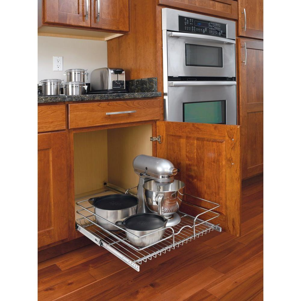 Rev A Shelf 7 In H X 20 75 W 22 D Base Cabinet Pull Out Chrome Wire Basket 5wb1 2122 Cr The Home Depot