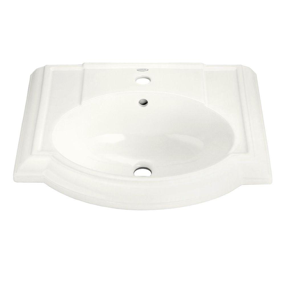 KOHLER Devonshire 4-7/8 in. Vitreous China Pedestal Sink Basin in White with Overflow Drain