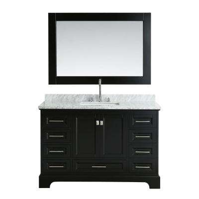 Omega 54 in. W x 22 in. D Vanity in Espresso with Marble Vanity Top in Carrara White with White Basin and Mirror