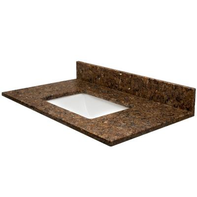 61 in. W x 22.5 in. D Quartz Vanity Top in Penumbra with Rect White Basin
