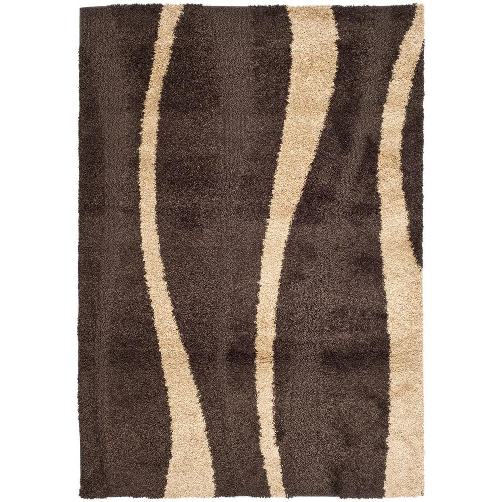 Safavieh Florida Shag Cream Dark Brown 8 Ft X 10 Ft Area