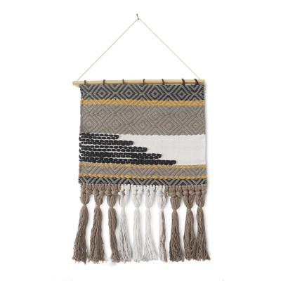 Trellis Neutral Black / Gray Geometric Fringe Wall Tapestry
