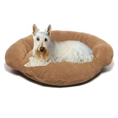Small Velvet Microfiber Bolster Pet Bed - Chocolate