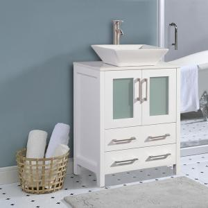 Ravenna 24 in. W x 18.5 in. D x 36 in. H Bathroom Vanity in White with Single Basin Top in White Ceramic and Mirror