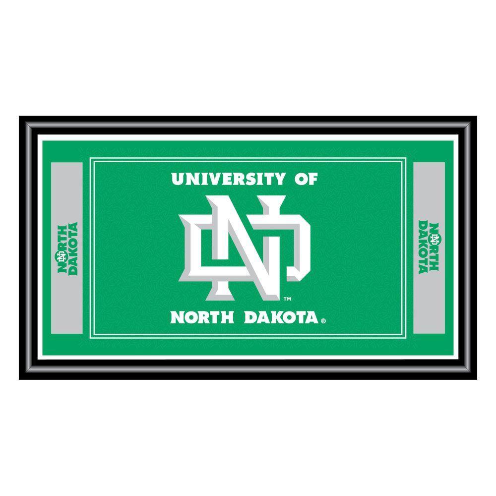 University of North Dakota 15 in. x 26 in. Black Wood Framed Mirror