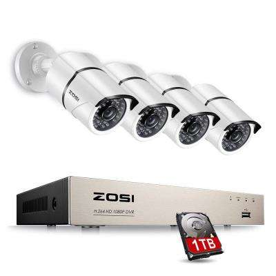 8-Channel 1080p 1TB DVR Security Camera System with 4 Wired Bullet Cameras