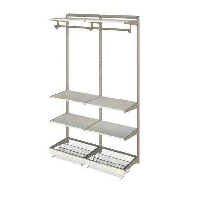 Closet Culture 16 in. D x 48 in. W x 78 in. H  with 6 White Oak Wood Shelves Steel Closet System