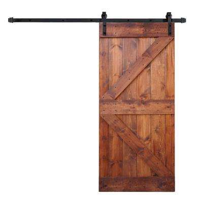 36 in. x 84 in. K Series DIY Red Walnut Finished Knotty Pine Wood Barn Door with 6.6 ft. Sliding Door Track Hardware Kit