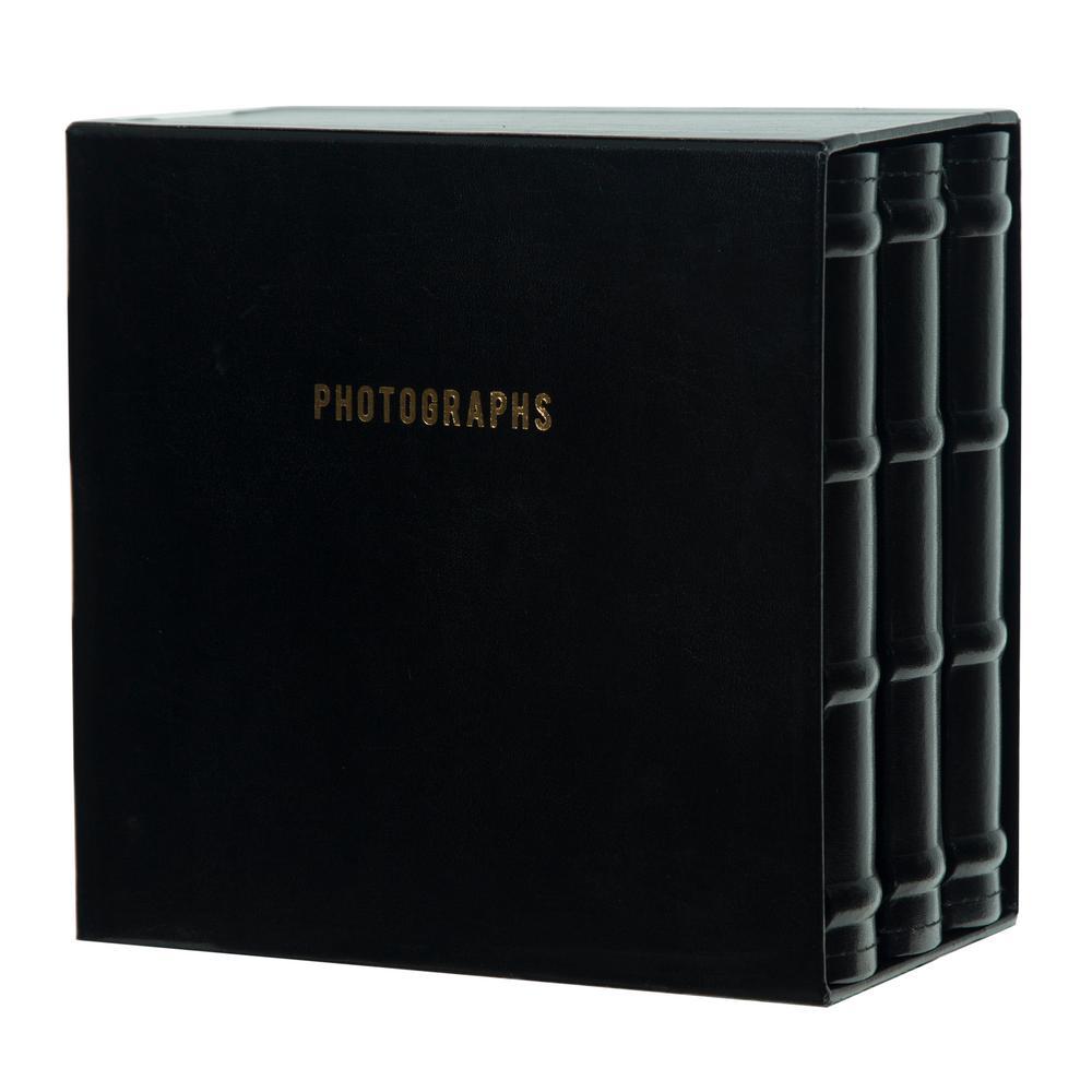 Premium 4 in. x 6 in. Black Leather Photo Album (Set of 3)