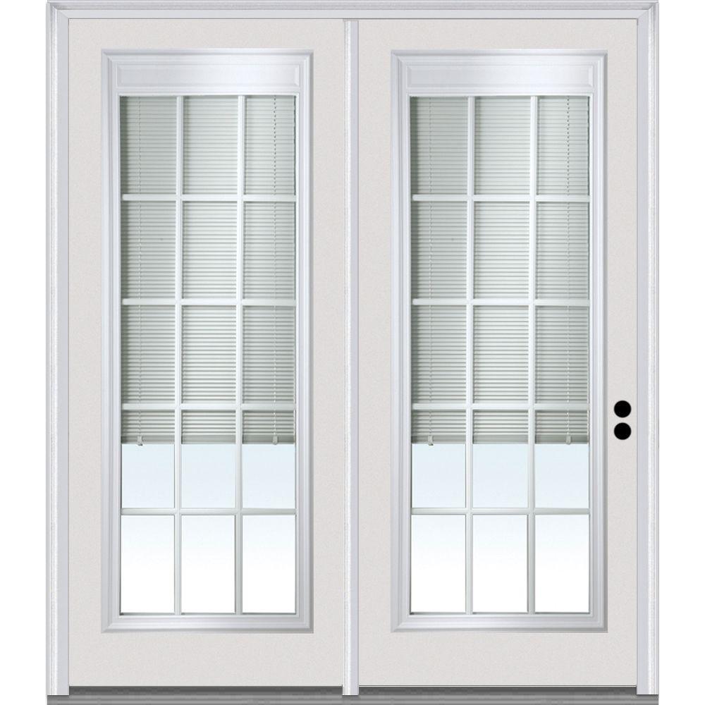 Classic Clear Low-E Glass 15 Lite Fiberglass Smooth Prehung Left-Hand Inswing RLB GBG Patio Door