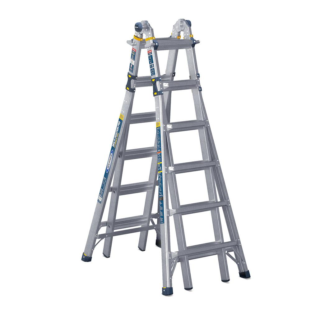 Werner 26 Ft Reach Aluminum 5 In 1 Multi Position Pro Ladder With Powerlite Rails 375 Lbs Load Capacity Type Iaa Duty Rating Mt 26iaa The Home Depot