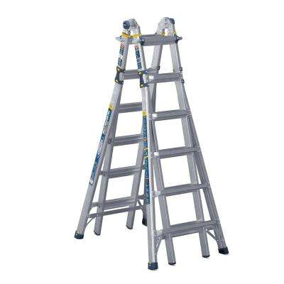 26 ft. Reach Aluminum 5-in-1 Multi-Position Pro Ladder with Powerlite Rails 375 lbs. Load Capacity Type IAA Duty Rating