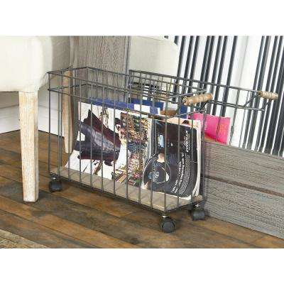office depot magazine rack. White Rolling Magazine Holder With Wooden Handle And Platform Office Depot Rack