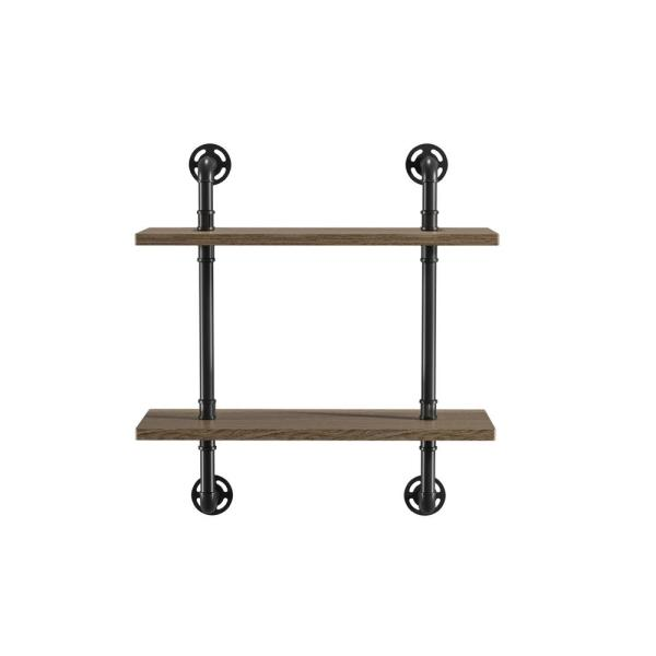 Jaxon 9 in. x 24 in. x 28 in. Sand Black and Light Pure Copper Wood Floating Decorative Wall Shelf with Brackets