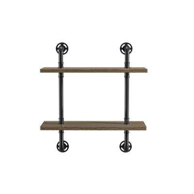 Jaxon 9 in. x 24 in. x 28 in. Sand Black & Light Pure Copper Wood Floating Decorative Wall Shelves