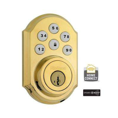 Z-Wave SmartCode Lifetime Polished Brass Single Cylinder Electronic Deadbolt Featuring SmartKey Security