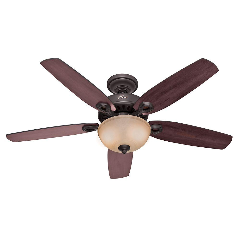Hunter Builder Deluxe 52 in. Indoor New Bronze Ceiling Fan with Light Kit