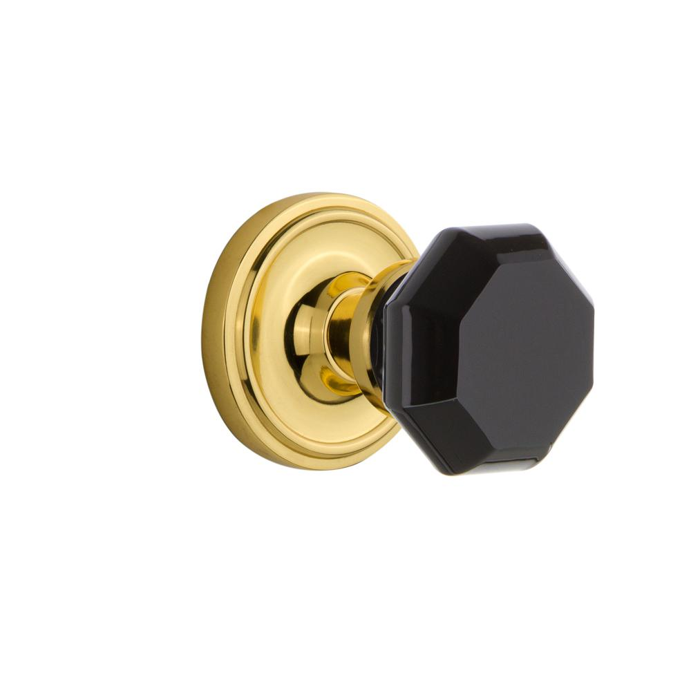 Classic Rosette Interior Mortise Waldorf Black Door Knob in Polished Brass