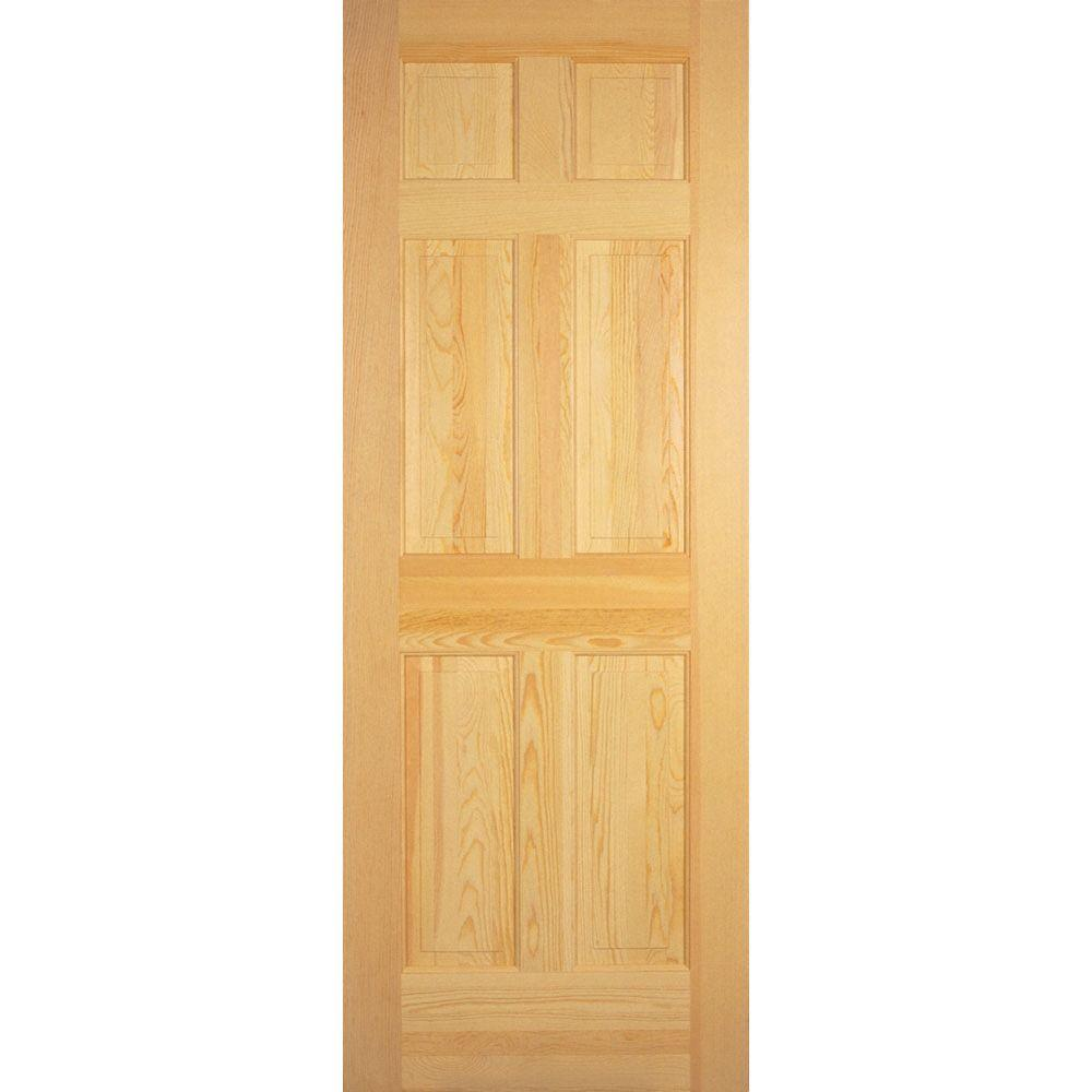 Builder 39 s choice 30 in x 80 in 6 panel solid core unfinished clear pine single prehung for Interior wood doors home depot