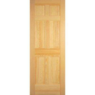 6-Panel Solid Core Unfinished Clear Pine Single Prehung Interior Door
