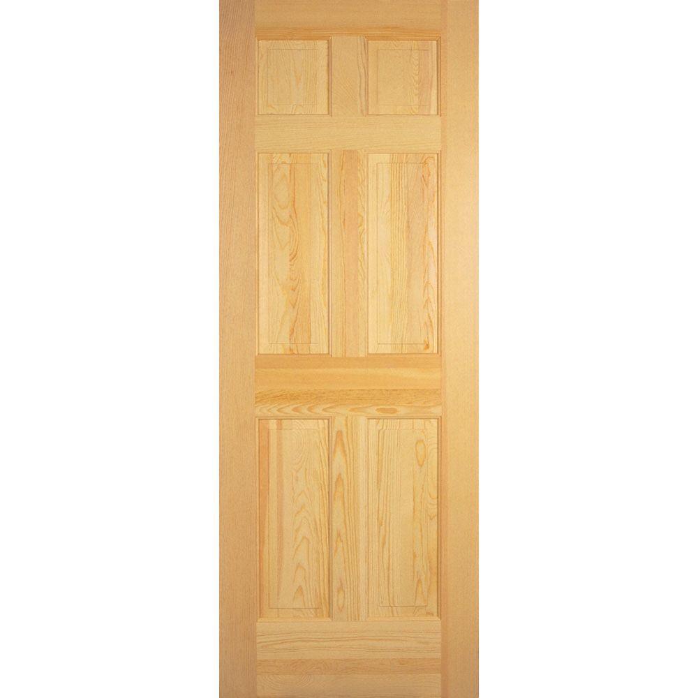 6 Panel Unfinished Clear Pine Interior Door Slab