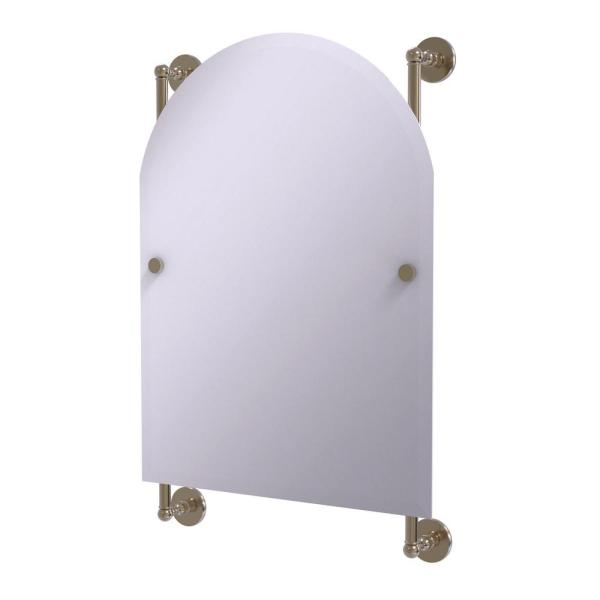 Prestige Skyline Collection Arched Top Frameless Rail Mounted Mirror in Antique Pewter