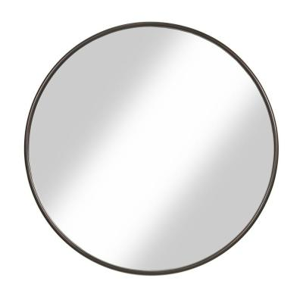 1 in. H x 36 in. W Small Round Bronze Modern Mirror
