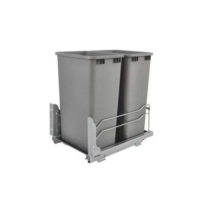 22.875 in. H x 15.5 in. W x 22.25 in. D Double 50 Qt. Pull-Out Silver Waste Container with Soft-Close Slides
