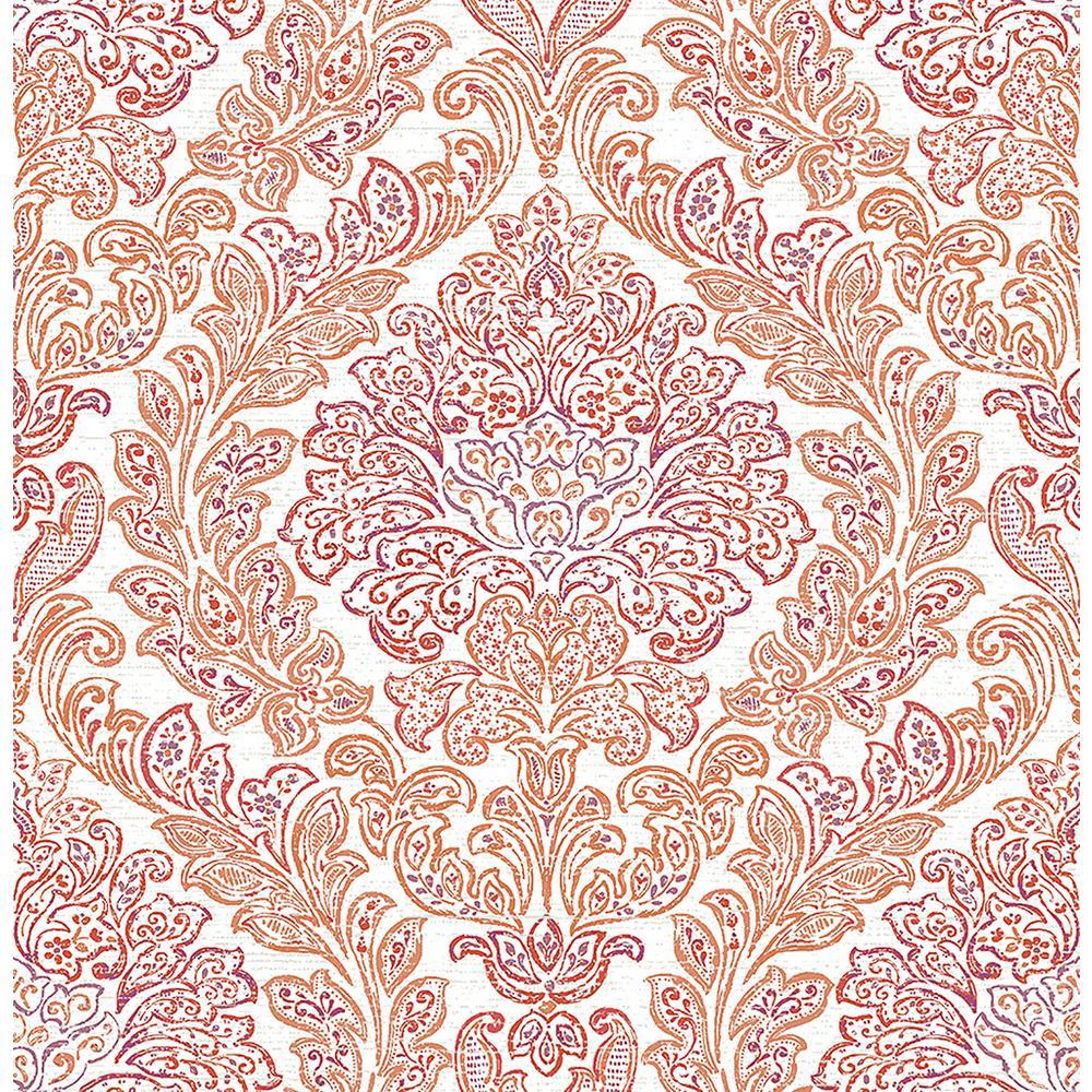 A-Street Fontaine Orange Damask Wallpaper Sample 2702-22745SAM