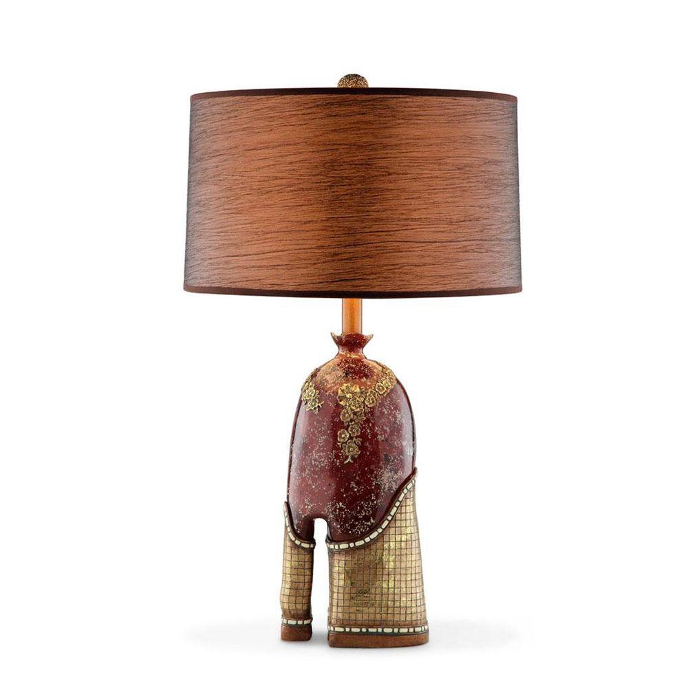 OK LIGHTING 29 in. Antique Brass Crystal Stone Table Lamp