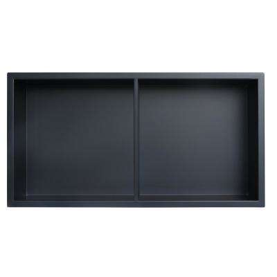 Showroom Series 12 in. x 24 in. SS Niche with Central Shelf in Matte Black