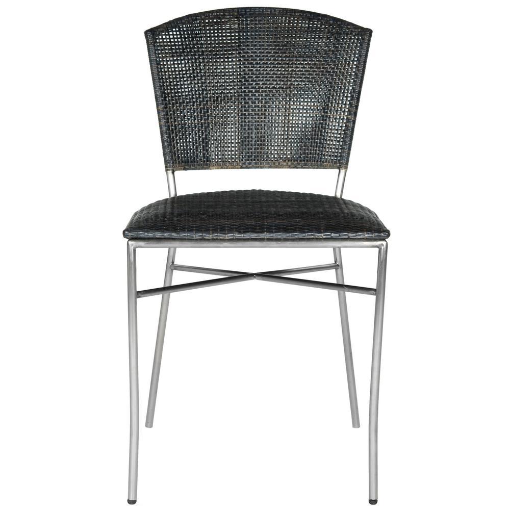Melita Black Stainless Steel Side Chair (Set of 2)