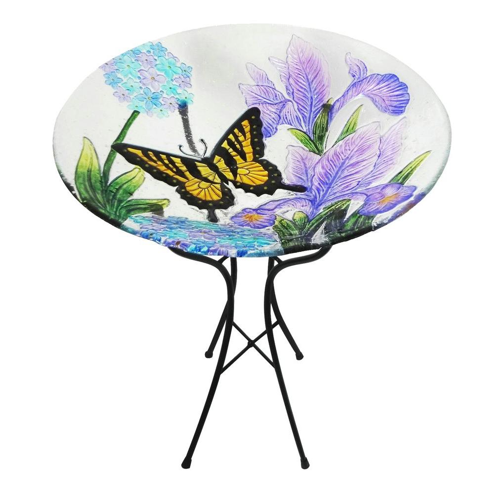 Leigh Country Yellow Butterfly Glass Bird Bath