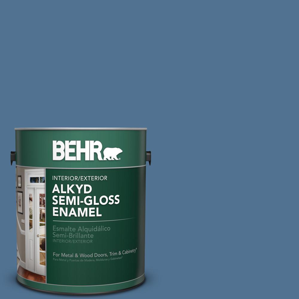1 gal. #PPU14-18 Laguna Blue Semi-Gloss Enamel Alkyd Interior/Exterior Paint