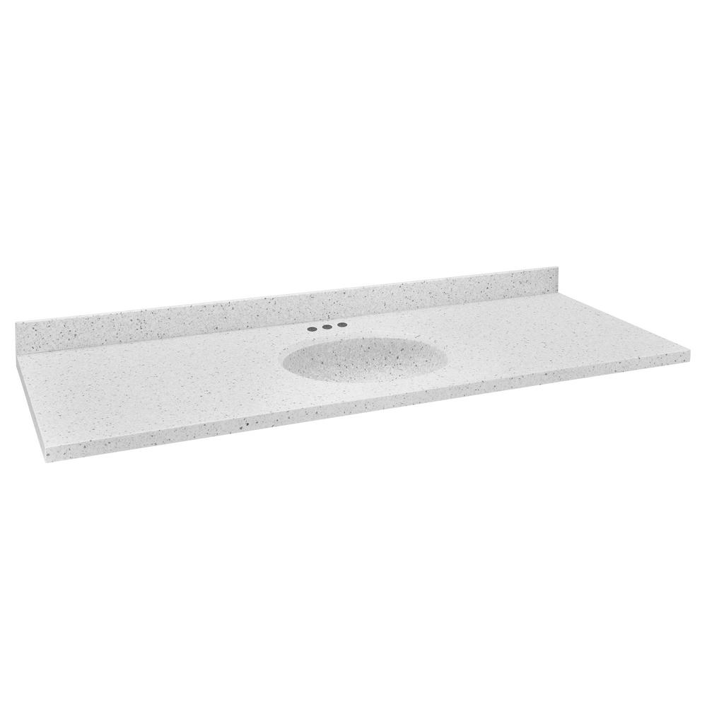 61 in. W Single Basin Vanity Top in Silver Birch with