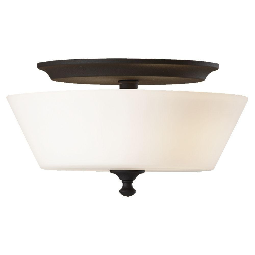 Feiss Peyton 2-Light Black Flushmount