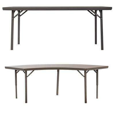 48 in. Brown Metal Folding Banquet Tables (Set of 3)