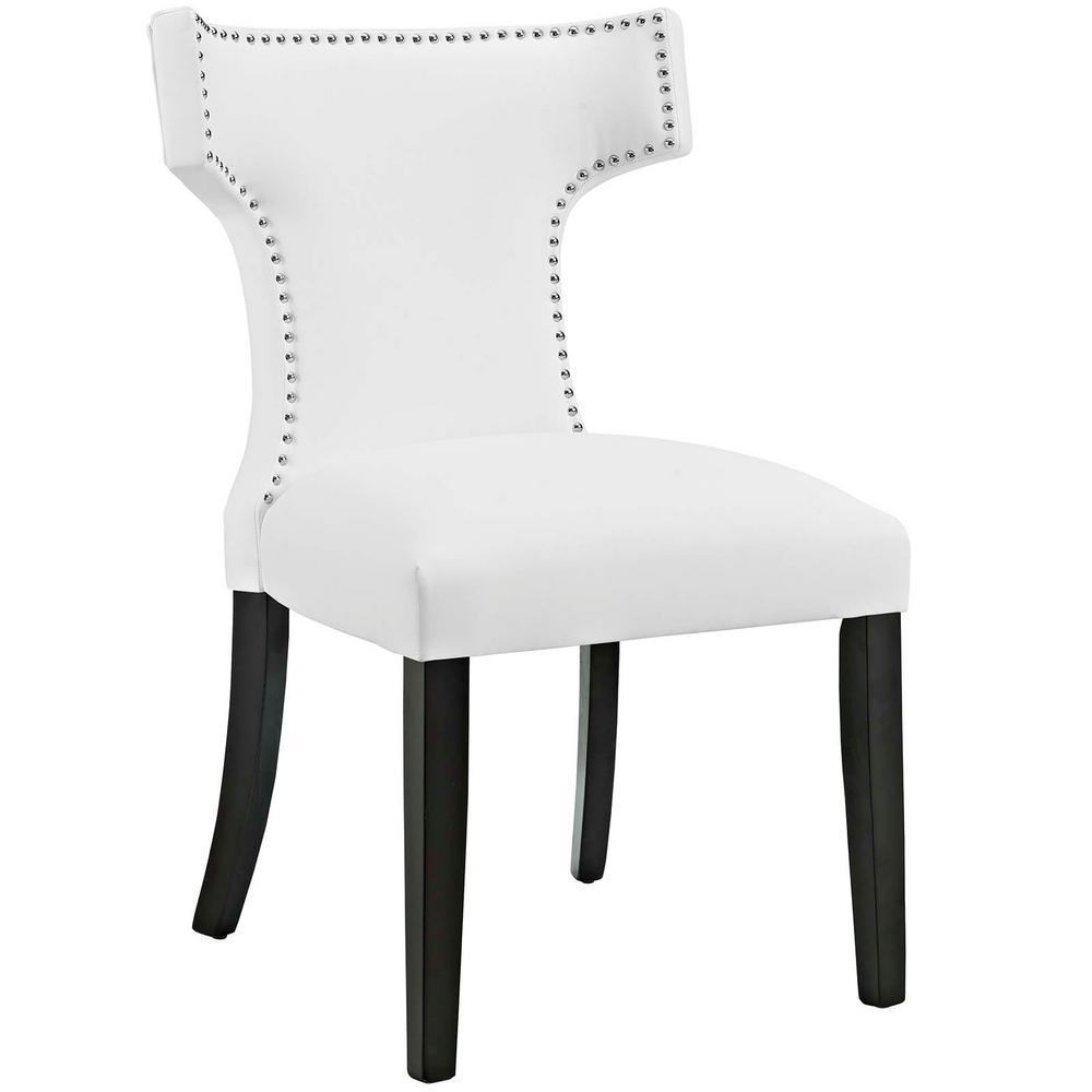 White Curve Vinyl Dining Chair