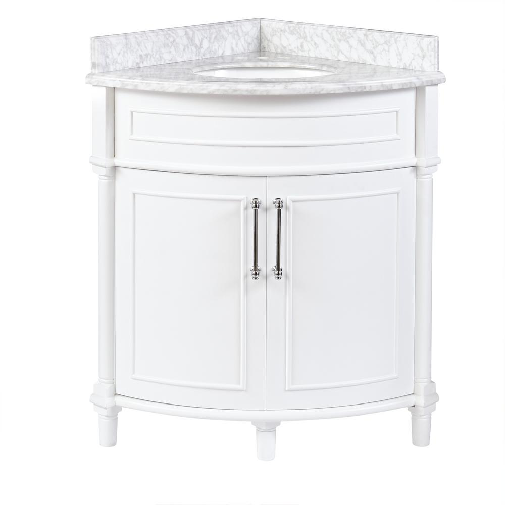 d corner vanity in white with a