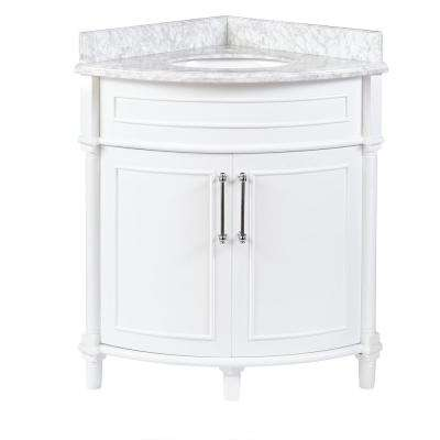 D Corner Vanity In White With Carrara