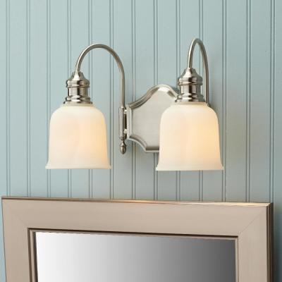 Anahurst 2-Light Satin Nickel Vanity Light with Frosted White Glass