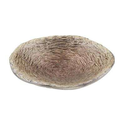 18 in. Round Champagne Brown Textured Bowl