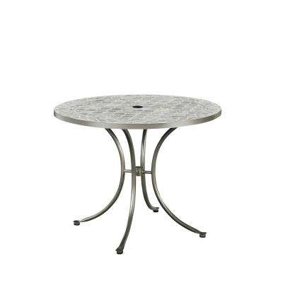 Umbria Gray Round Concrete Tile Outdoor Dining Table