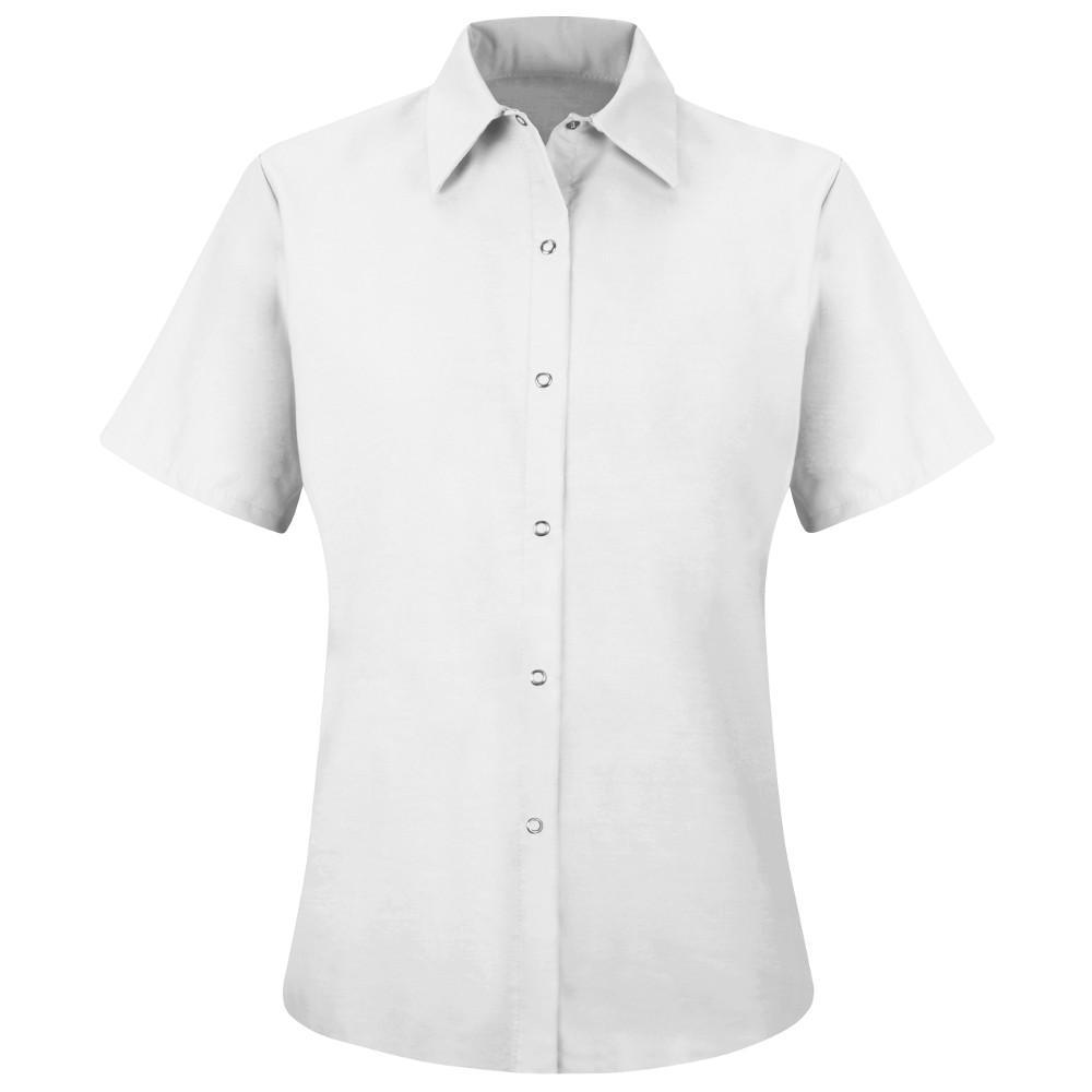 Women's Size 4XL White Specialized Pocketless Work Shirt