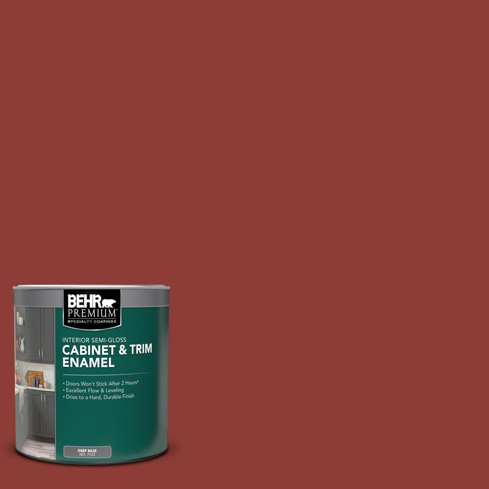 Behr Premium 1 Qt Ppu2 02 Red Pepper Semi Gloss Enamel Interior Cabinet And Trim Paint 712304 The Home Depot