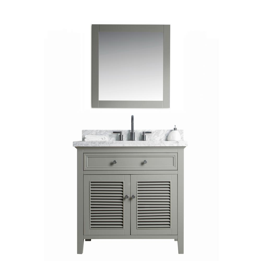 Legion Furniture 36 in. W x 22 in. D Vanity in Gray with Cararra Marble Vanity Top in White and Gray with White Basin and Mirror