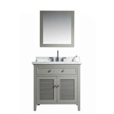 36 in. W x 22 in. D Vanity in Gray with Cararra Marble Vanity Top in White and Gray with White Basin and Mirror