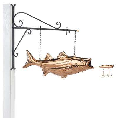 Hanging Bass with Lure Pure Copper Weathervane Sign with Decorative Bracket: Nautical Decor