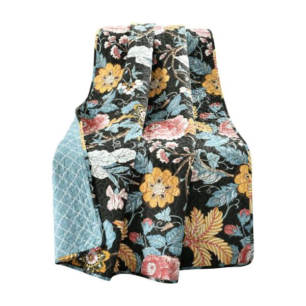Sydney Black/Blue Reversible Cotton Throw Blanket